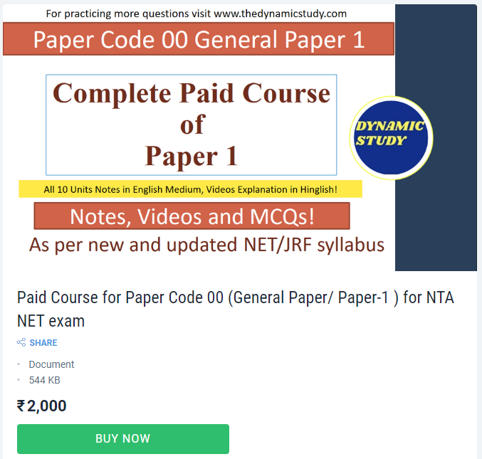 Paid Course for Paper Code 00 (General Paper/ Paper-1 ) for NTA NET exam