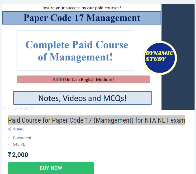 Paid Course for Paper Code 17 (Management) for NTA NET exam