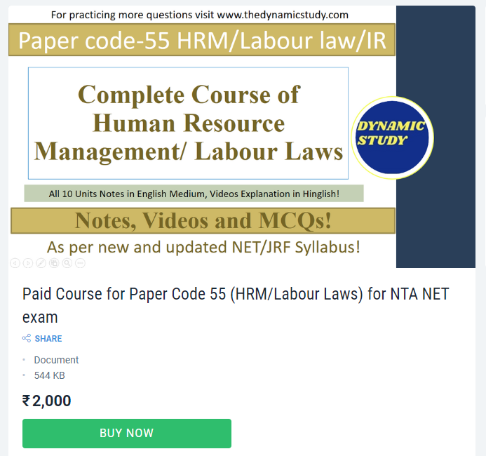 Paid Course for Paper Code 55 (HRM/Labour Laws) for NTA NET exam
